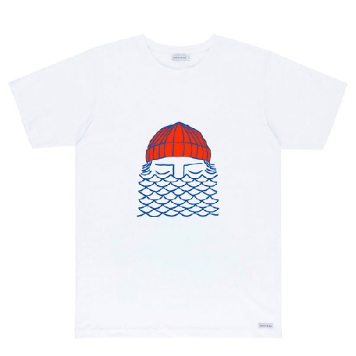 BASK IN THE SUN TO THE SEA TEE white