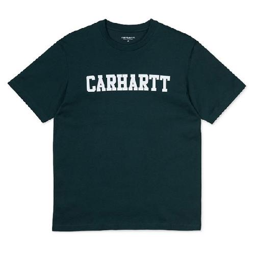 CARHARTT COLLEGE TSHIRT Dark Fir / White