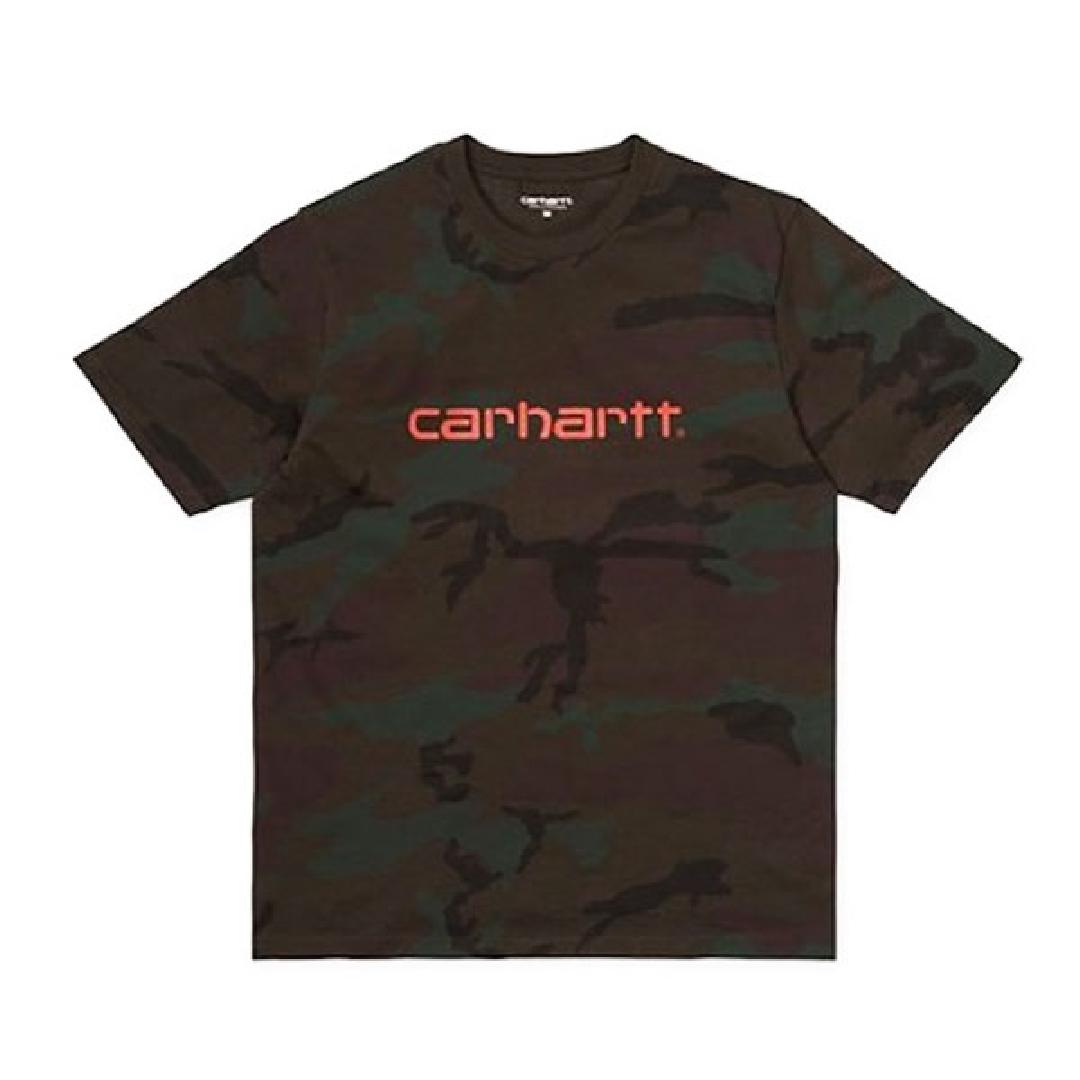 CARHARTT SCRIPT TSHIRT Camo Evergreen/Orange