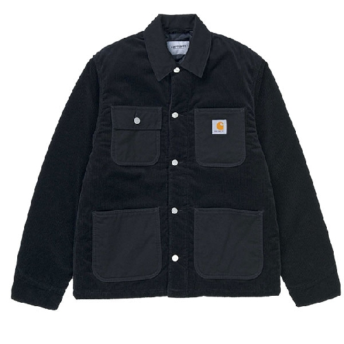 CARHARTT MICHIGAN COAT COTTON COVENTRY CORDUROY Black Rinsed