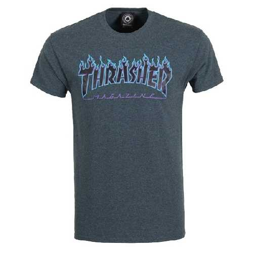 THRASHER FLAME LOGO TEE dark heather