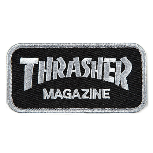 THRASHER PATCH LOGO grey black