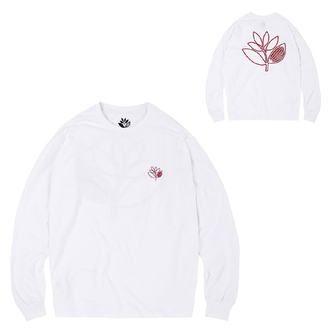 MAGENTA PLANT OUTLINE LS TEE white