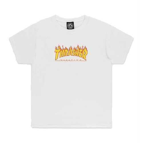 THRASHER FLAME YOUTH TEE white