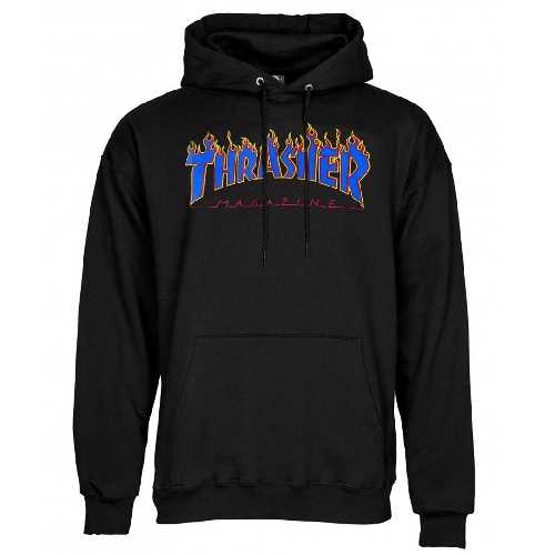 THRASHER FLAME HOOD Black Blue