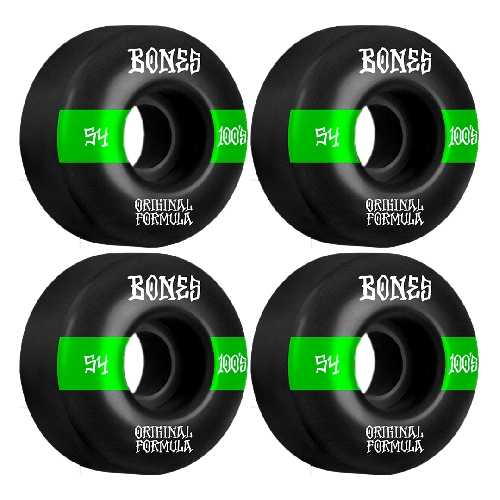 BONES 100 S V4 BLACK WIDE WHEELS 100a 54mm