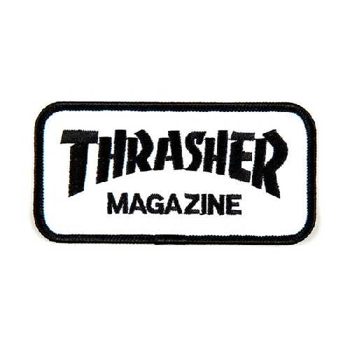 THRASHER PATCH LOGO black white 10.5cm x 5cm