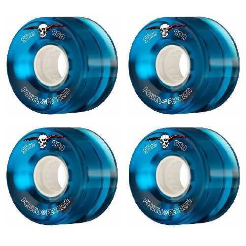 POWELL PERALTA H8 CLEAR BLUE CRUISER WHEELS 80a 55mm