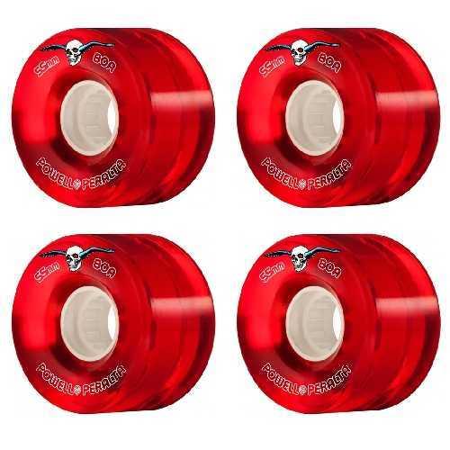 POWELL PERALTA H8 CLEAR RED CRUISER WHEELS 80a 55mm