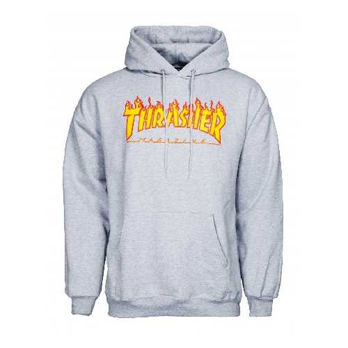 THRASHER FLAME LOGO HOODY Grey