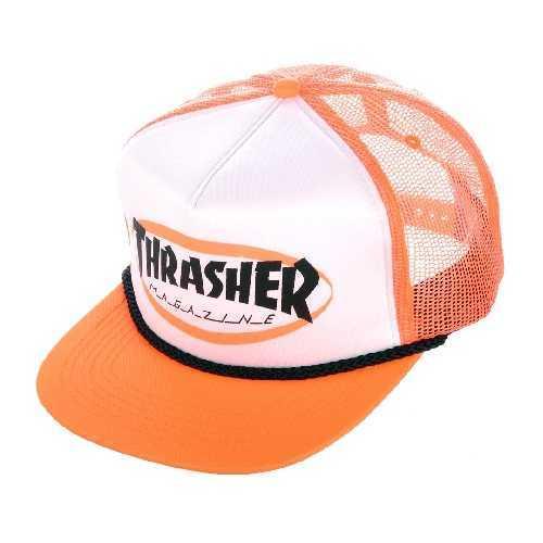 THRASHER ELLIPSE MAG LOGO TRUCKER ROPE CAP orange